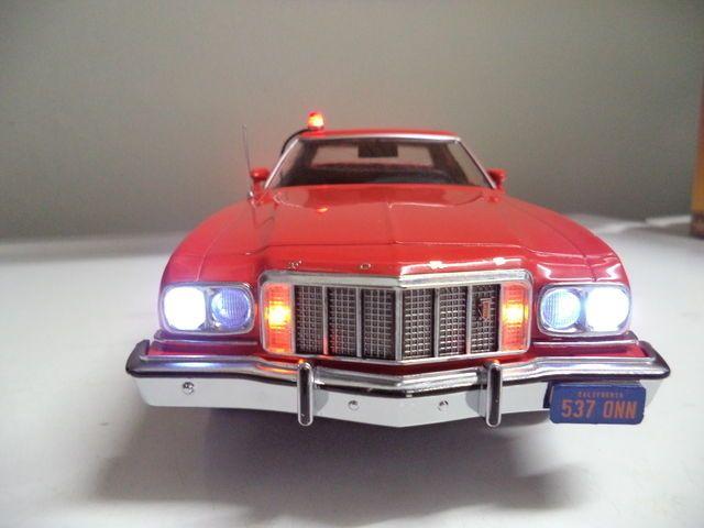 "Starsky & Hutch Ford Gran Torino 1/18 POLICE Car CUSTOM ""Lot WORKING LIGHTS"" #Greenlight #Ford"