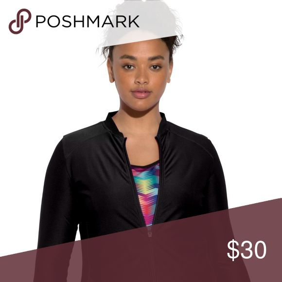 """New Women Active Wear Zip Up Workout jacket This jacket was made to perform. Great-fitting plus size jacket is made to move as you do, with added details that make it most desirable. relaxed fit aids movement 28"""" falls with ease to below the hips stand collar soft, washable cotton/polyester jersey imported Women's plus size active fitness and athleisure fashion jacket in sizes full beauty Jackets & Coats"""