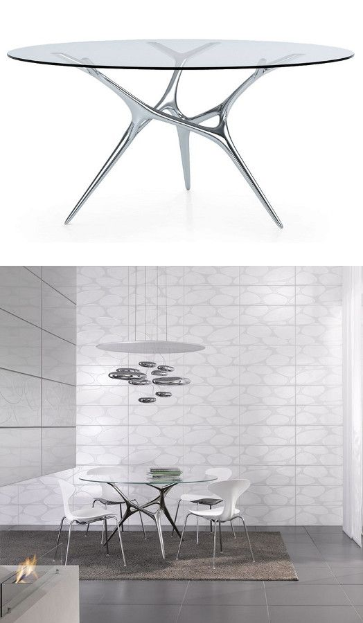 Round #glass And Stainless Steel #table E VOLVED By FueraDentro | #design