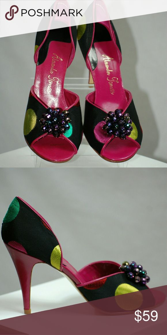 "Black Jacquard Polka-Dot Black jacquard with multicolored polka-dots. Shoe is an open toe with a fuchsia trim heel 4"". Top of shoe has embellishment of purple beads. Leather soles. Alexander Thomas  Shoes Heels"