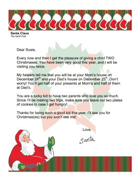 This letter from Santa addresses the issue of a child having divorced parents and two Christmases. Free to download and print
