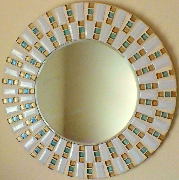 Beautiful Handmade Mosaic Mirror Bevelled Edge Glass White ceramic with gold and glitter tiles Mosaic Tile