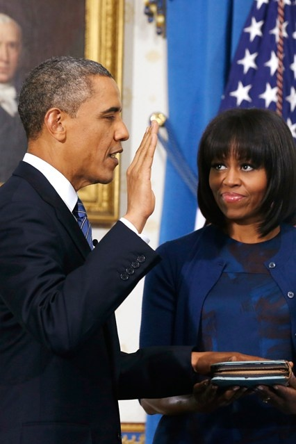 Barack and Michelle Obama during the President's official swearing-in ceremony