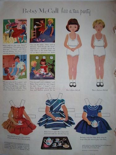 Betsy McCall Has a Tea Party, 1954: Paper Dolls, January 1954, Tea Parties, Dolls Parties, Magnets Dolls, Betsy Mccall50, Mccall Paper, Boneca De Papell, Teas Parties