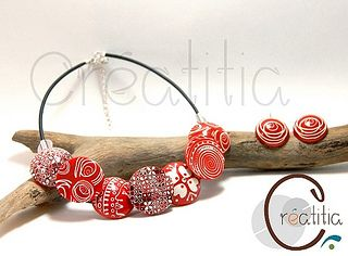Collier bobotta Rouge blanc fimo polymere by Créatitia, via Flickr