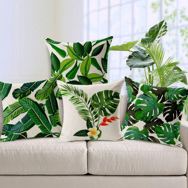 Decorative throw pillows case cover green leaf tropical plant cotton linen cushion cover for sofa home capa de  almofadas 45x45