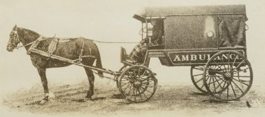 1870-1880  Horse-driven ambulance: Driver has blanket over his knees.: Blanket