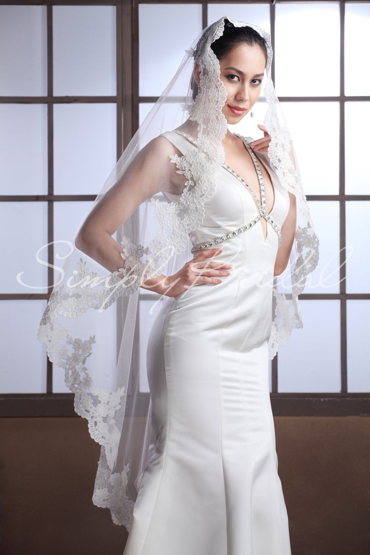 #87078-one tier 50 in scallop lace edge veil-love this -either in white or champagne color-gorgeous