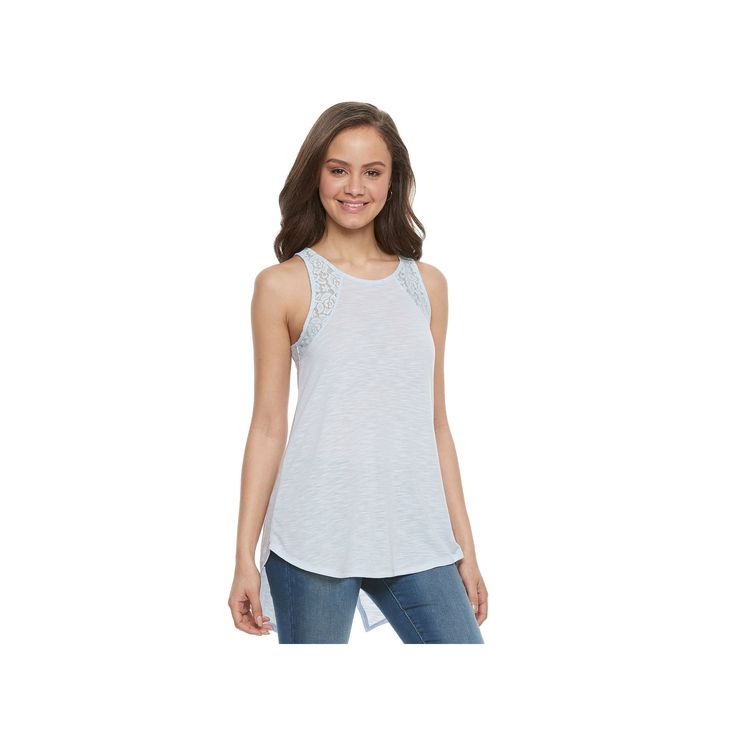 Juniors' SO® Lace Trim Split-Back Tank, Teens, Size: Medium, Med Blue