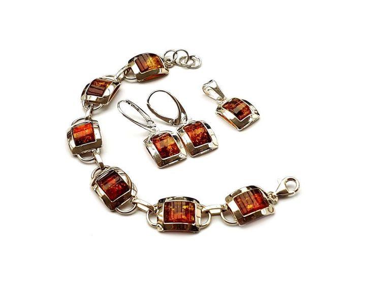 Set Anhänger, Ohrringe, Armband mit Bernstein, Cognac NEU (SB498) in Uhren & Schmuck, Echtschmuck, Schmucksets | eBay!