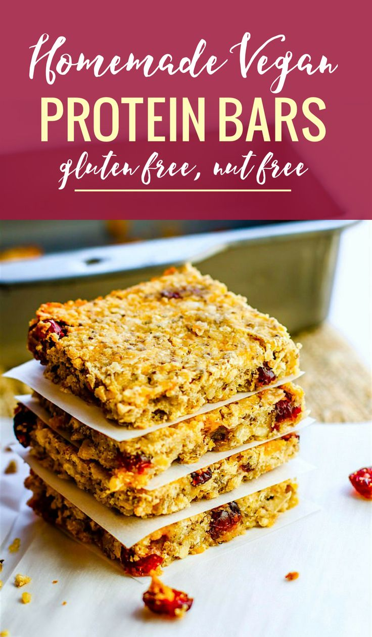 How to Make Homemade Vegan Protein Bars without Protein Powder! Easy real food based vegan protein bars that are naturally sweetened, healthy, gluten free, and nut free. So simple and delicious! #glutenfree #veganrecipes #homemade #protein