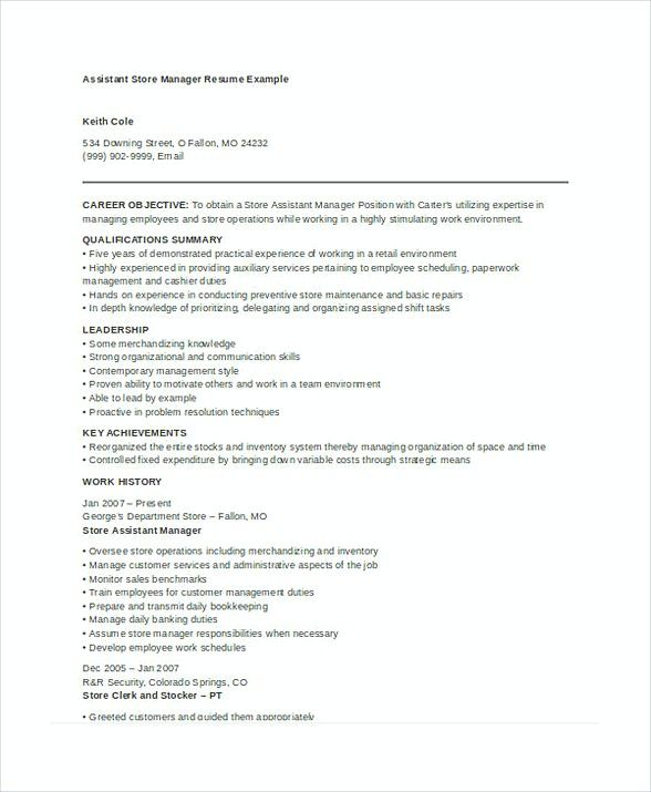 Assistant Store Manager Resume  Store Manager Resume  In The
