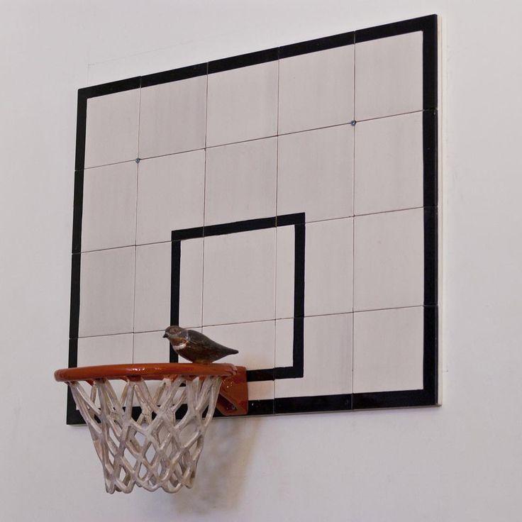 "Main Section | Davide Monaldi ""Canestro da basket con uccellino (basketball basket with small bird)"" 2013, Courtesy Studio Sales Norberto Ruggeri"