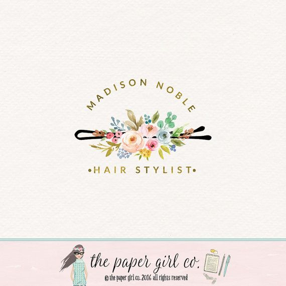 hair clip logo hair stylist logo hair salon logo by thepapergirlco i also really love an idea like this with the color scheme i pinned - Nail Salon Logo Design Ideas