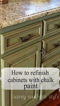 How to Refinish Cabinets with Chalk Paint - love this color and using chalk board paint seems faster