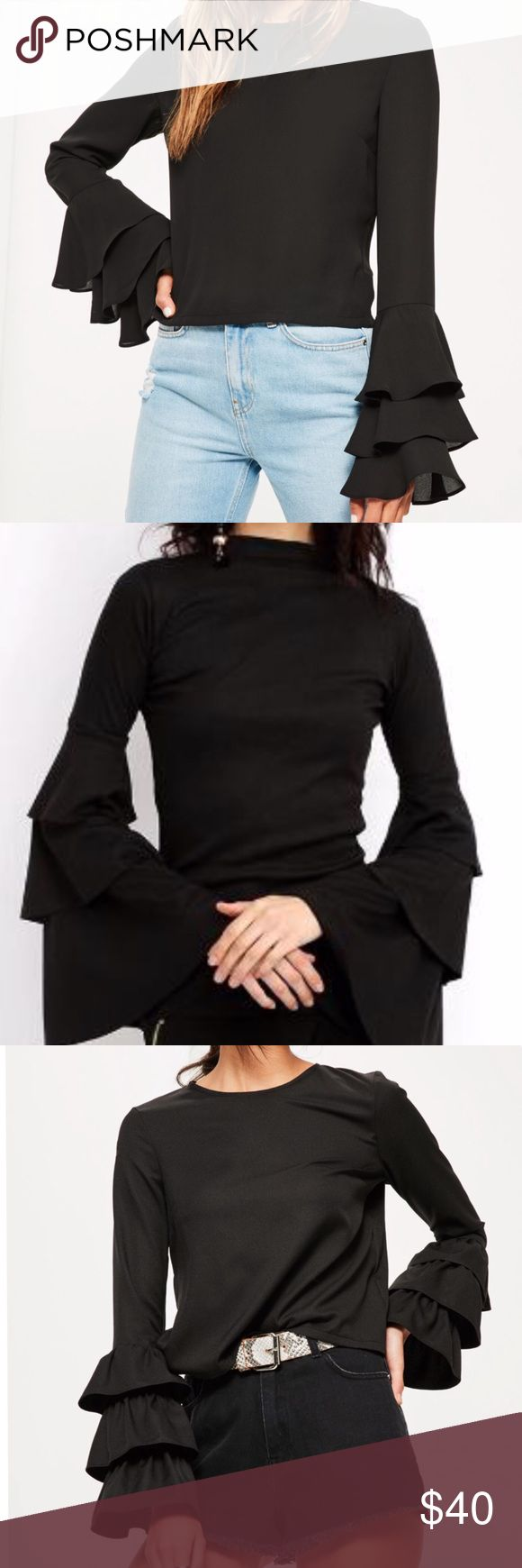 """3layer flare sleeve blouse Gorgeous 3 layer bell sleeve blouse Material: 100%Polyester NWTColor: Black, bell layered Folding Sleeve with Back Key Hole,Simple,Comfortable goes great with everything! PLEASE READ MEASUREMENTS"""" RUNS SMALLER Size Asian L -bust 41"""" sleeve length 22"""" Length 25"""" Size Asian XL - bust 43"""" sleeve length 22"""" Length 26"""" Size Asian 2X - bust 45"""" sleeve length 23"""" Length 26""""   BUNDLE & SAVE 15% ✨TOP RATED SELLER✨ SAME DAY OR NEXT DAY SHIPPING! ❤REASONABLE OFFERS WELCOME❤…"""