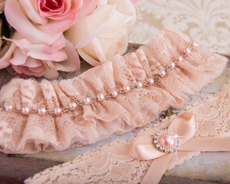 Blush Wedding Garter Set, Blush Pink Bridal Garter Set, Pink Tulle Garter, Lace Wedding Garter, Rose Gold Garter by GarterQueen on Etsy