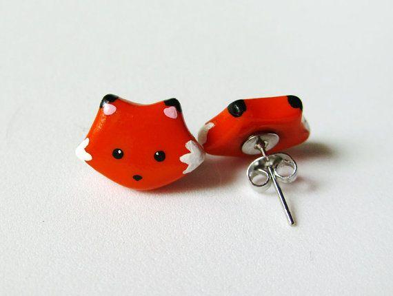 Cute Orange Fox Earrings Polymer Clay Jewelry by MadAristocrat, $12.00