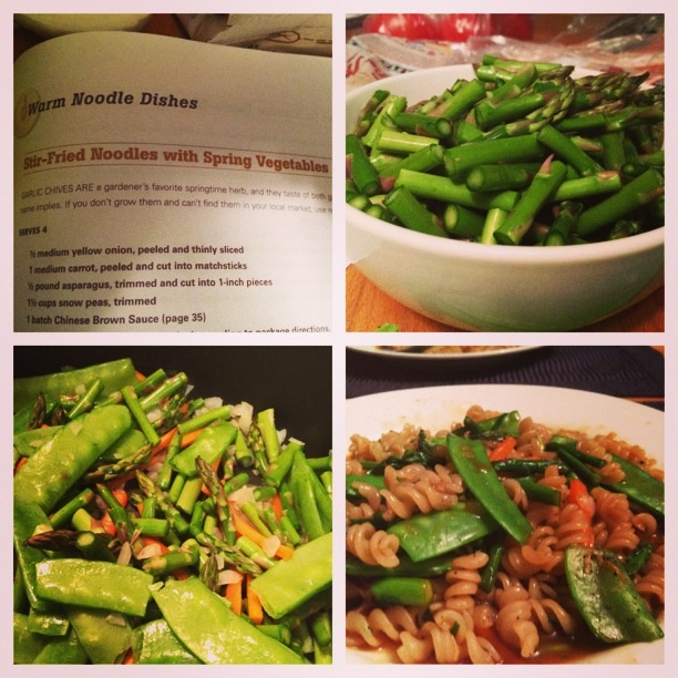 Forks over knives recipe for stir fried noodles and spring veggies. This was so good my boyfriend and I licked our plates clean.