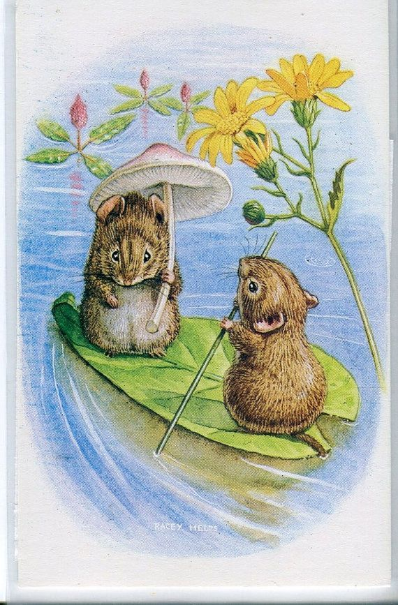 Summer on the Lake, Mice boating on leaf,  Racey Helps