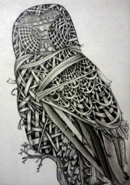 """Stunning drawing of an owl """"built"""" by ribbons, created by Ronnie J. Packe using carbon pencils and sharpie markers. Posted on The Art Colony.: Art Zentangles, Colored Pencil, Drawing Lessons, Art Inspiration, Ribbon Owl, Artwork Doodles Zentangle, Pencil Ribbon, Ribbonowl Jpg"""