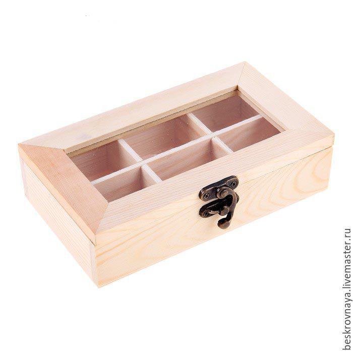 Купить Шкатулки для мелочей 6 ячеек - для декупажа, для декора, Декупаж, короб для чая, чайная коробка