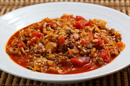 Sauerkraut Cabbage Roll Soup!  Don't laugh!  This would satisfy my craving for cabbage rolls.
