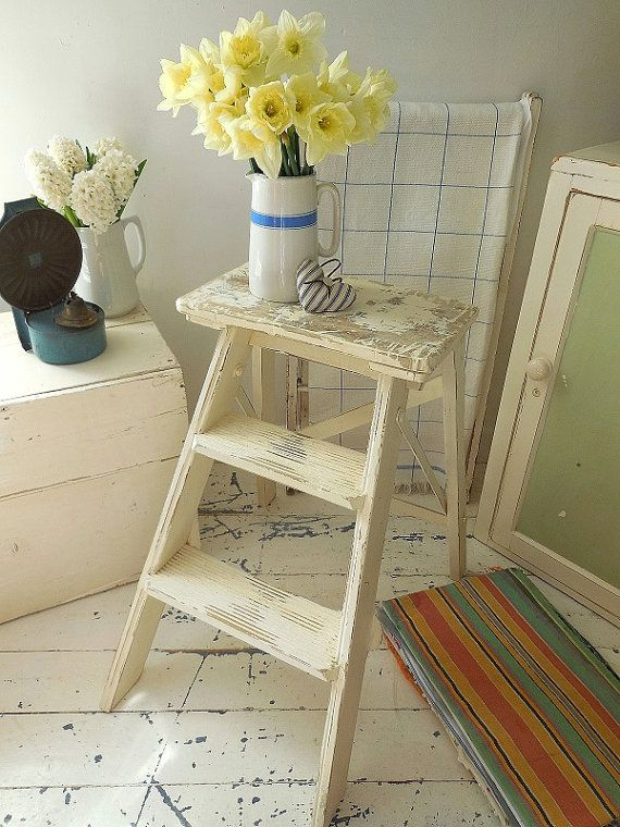 Vintage shabby painted small step ladder, kitchen steps, step stool, shelves, side table, display, storage