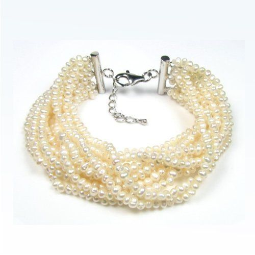 Blue Pearls - White cultured Pearl 12 strand Bracelet - BPS 0103 Y Blue Pearls. $86.79