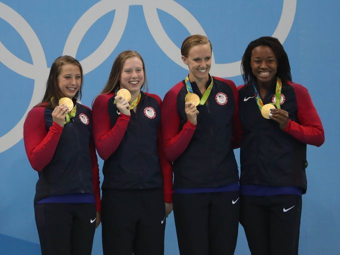 The U.S. team of Kathleen Baker, Lilly King, Dana Vollmer
