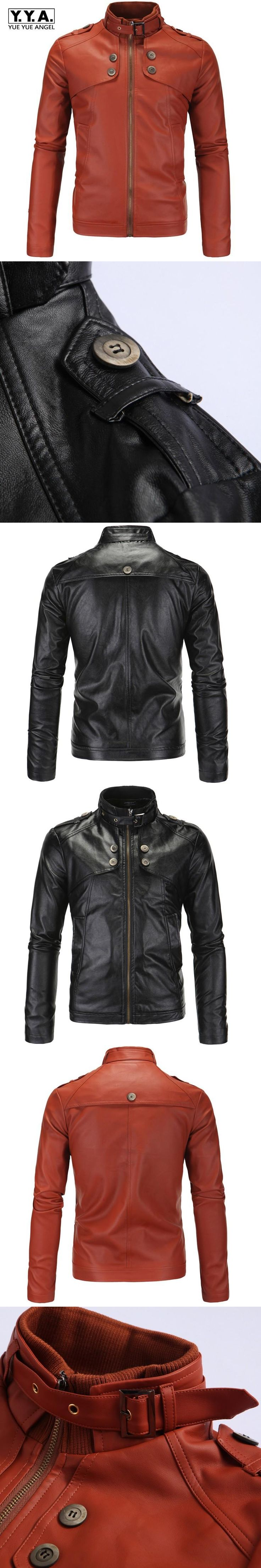 Fashion Stand Collar Buckle Mens Motorcycle Jacket Large Size M-4XL Faux Leather Jacket Man Autumn Windbreaker Homme Coat Black