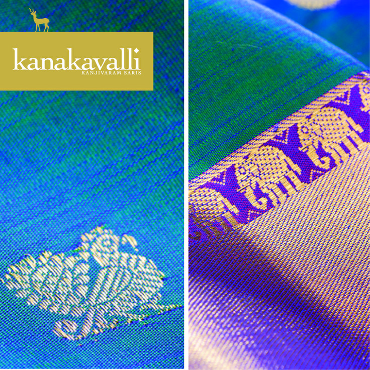 In Indian mythology, the elephant is a symbol of the Highest True Self. A royal parade of bedecked elephants was historically a show of power, strength and prosperity. So too, the elephant motif as expressed in the weaves of the Kanjivaram, is a striking design element that expresses the power and magnificence of the wearer. In this Kanakavalli Kanjivaram, the row of elephants create an alluring divide between the deep sari colour and rich zari pallu.