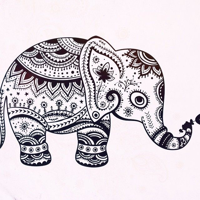 mandala elephant coloring pages easy - photo#4