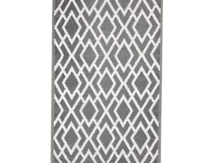 Plastic buitenkleed grafische print van kunststof in grijze kleur en heerlijk voor in de tuin te gebruiken.