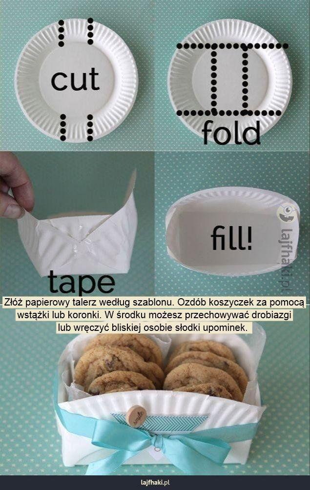 Papierowy koszyczek na drobiazgi - Złóż papierowy talerz według szablonu. Ozdób koszyczek za pomocą wstążki lub koronki. W środku możesz przechowywać drobiazgi lub wręczyć bliskiej osobie słodki upominek.