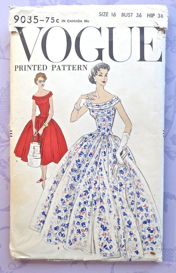 Vogue 9035 Vintage 1950s Womens Full Skirt Dress by Fragolina, $34.00