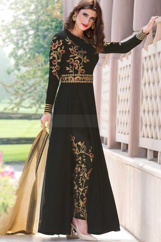 79268e017d Black Georgette Salwar Kameez | R@$ | Black salwar suit, Black ...