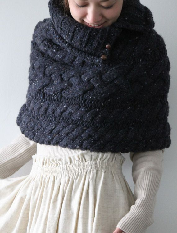Cozy chunky cable knit capelet