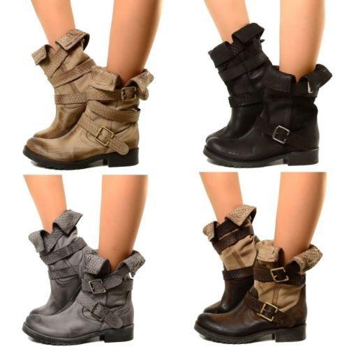 Biker-Bottes-Femmes-Cuir-Boots-Motard-Roll-Up-Bottines-Vintage-Cuissardes-969