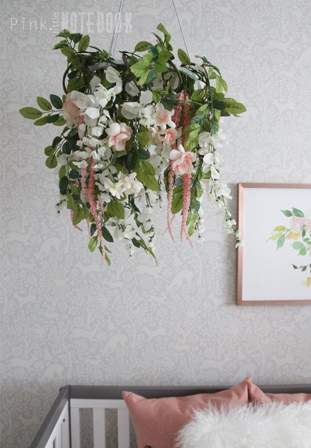 ORC Reveal: Baby Girl's Whimsical Nursery. Peach and pink flower mobile | Pink Little Notebook