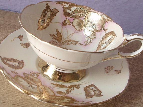 UNIQUE Antique Royal Stafford hand painted tea by ShoponSherman, $79.00