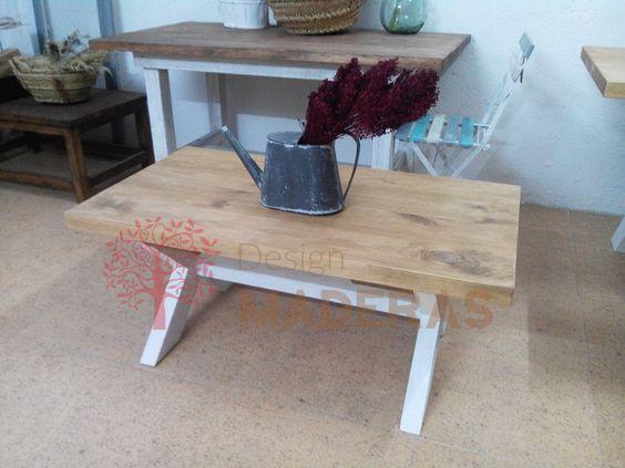 Mesa de centro de madera maciza de pino con estructura de for Mesa cocina madera maciza