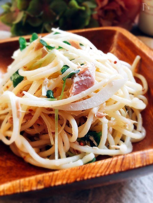 あと1品・サラダスパ☆ツナと粒マスタードとマヨネーズあえ by 津久井 美知子 (chiko) / 付け合わせのサラダ・スパを作ります!スパゲティーはあらかじめ、茹でておいたので、5分で出来ました‼️万能のツナを使って、旨味をプラスして満足の副菜です❣️たくさん作って作り置きにしてもしています❣️ / Nadia