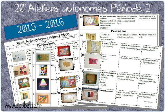 2015-2016 : 20 ateliers autonomes MS-GS pour la période 2