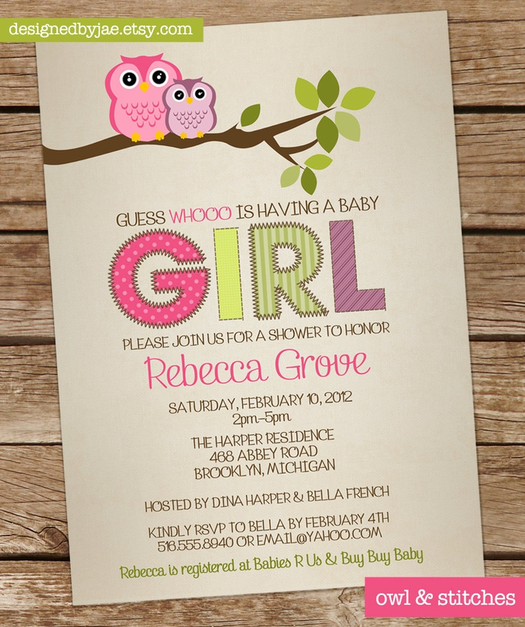 baby shower invitation for twins%0A Items similar to Baby Shower Invitation Girl Owl  Owls Invitation  Owl  u      Stitches  Twins  Girl  Neutral  Pattern  digital diy printable  on Etsy