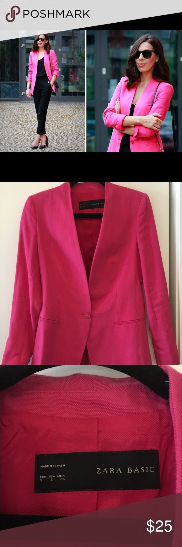 Zara pink blazer Lovely Zara basic blazer to wear for work or casually. Can be worn for any season. Beautiful hot pink color. Only worn a few times. Selling because doesn't fit. Back has seam slightly stretched (as seen in picture). Comes from a smoke & pet free home. Clearing out closet! Make an offer! Zara Jackets & Coats Blazers
