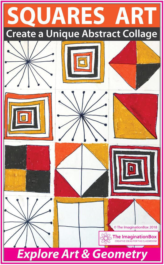 Math And Art Lesson Squares Geometry Collage Activity Art
