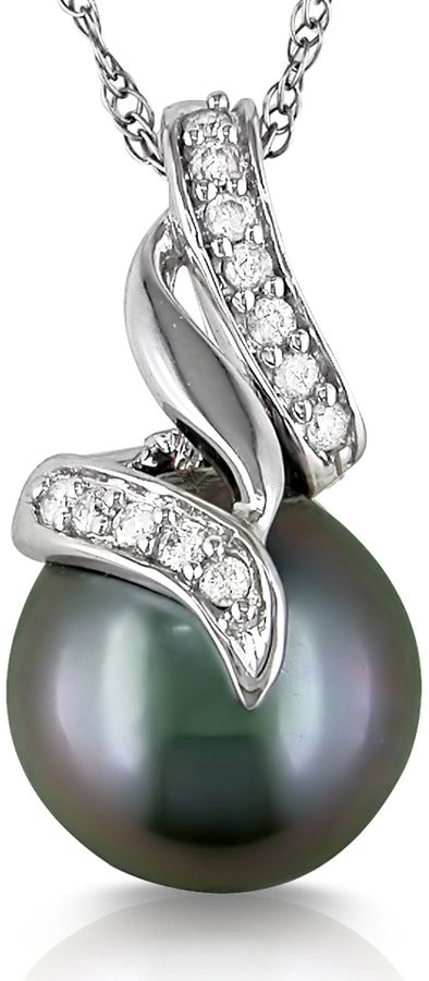 Ice Michiko 9.5-10 mm Tahitian Pearl 10K White Gold Pendant Necklace with Diamond Accents