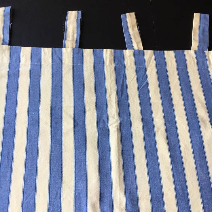 Waverly Curtains Blue Yellow Stripe Tab Top 3 Pieces  | eBay