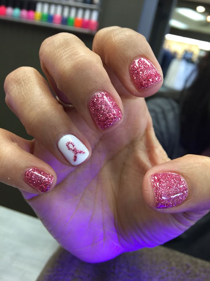 October breast cancer nails
